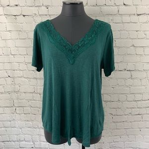 Eyeshadow XL Dark Green Ribbed Knit Lace V S/S Top